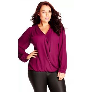 CITY CHIC Crossover Lace Mulberry Purple Top